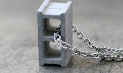 Cinderblock necklaces pendants made from poured concrete