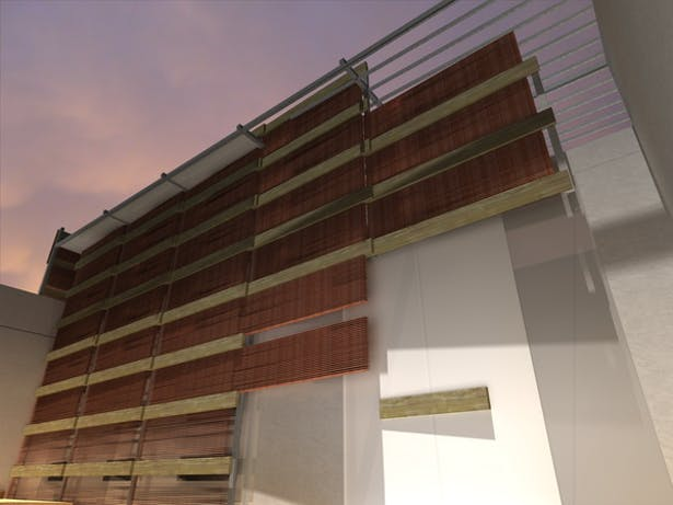 Museum render: Long Arizona copper sun-blinds will reduce direct solar heat gain. Over time these blinds will oxidize to a muted green.