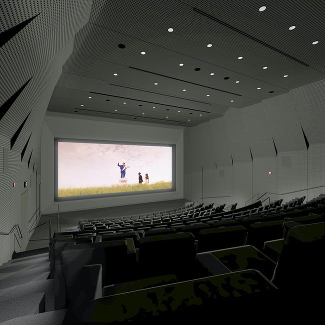 Rendering of the new UC Berkeley Art Museum and Pacific Film Archive (BAM/PFA), designed by Diller Scofidio + Renfro. View of the 233-seat film theater. Courtesy of the Regents of University of California.