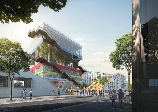 Rendering of MVRDV's Expo Pavilion 2.0 transformation. © MVRDV