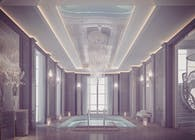 Grey Themed Indoor Pool Design