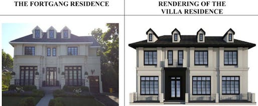 """Rivka and Seth Fortgang's house (left) and the proposed plans for the """"copy house"""" (right). Photo by Steve Stern, via nypost.com"""