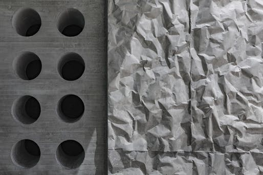 A close-up shot of crinkle concrete. Image © Richard Barnes