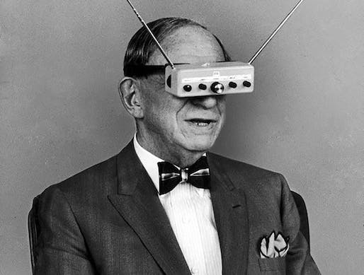 Hugo Gernsback with his TV Glasses during a LIFE magazine photoshoot in 1963.