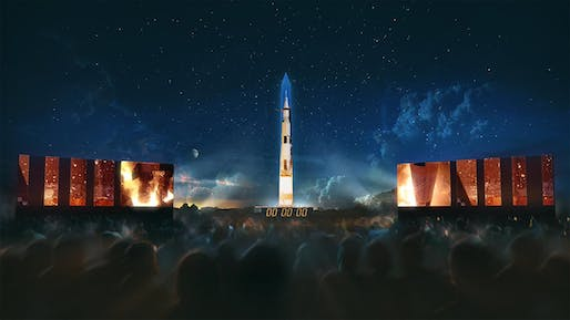 A multi-media projection of a Saturn V rocket is coming to the Washington Monument. Image courtesy of the National Air and Space Museum.