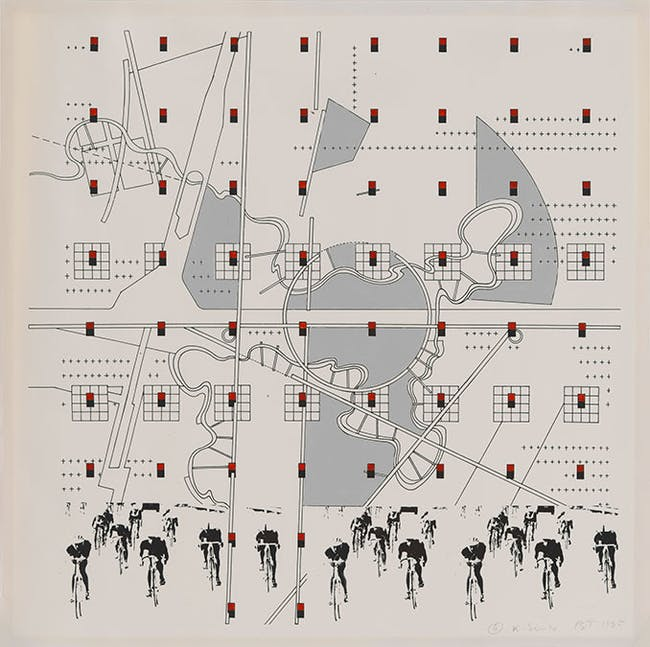 "Bernard Tschumi, ""#4 K Series,"" 1985. Study for ""La Case Vide: La Villette,"" Folio VIII, 1985. Photostat with hand-applied enamel paint, 16 15/16 x 17"". Collection of the Alvin Boyarsky Archive."
