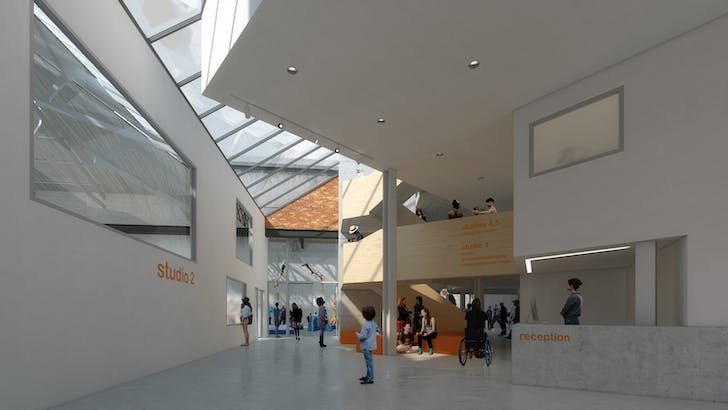 Rendering of Briggait Creation Centre's foyer, courtesy of Collective Architecture.