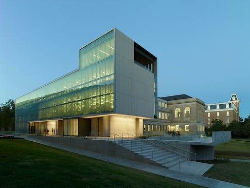 Vol Walker Hall & the Steven L. Anderson Design Center; Fayetteville, Arkansas by Marlon Blackwell Architects. Photo: Timothy Hursley.