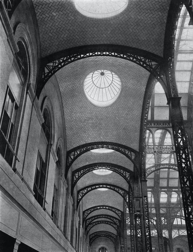 In 1910, the Guastavino Company was actively working on both Grand Central Terminal and Pennsylvania Station (pictured here). Guastavino vaulting provided stations architects with an efficient structural solution that gave the impression of solidity and permanence. The structural tile also served as an attractive decorative finish to expansive structures. Pennsylvania Station and Grand Central Terminal, two New York City stations represent the highest achievements of American railroad...