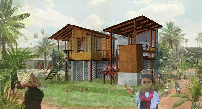 Original render of Courtyard House by Jess Lumley & Alexander Koller (UK)