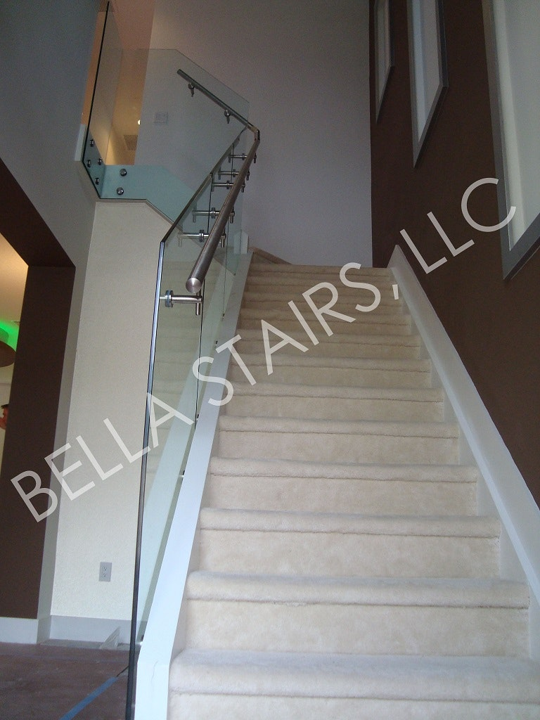 Glass Railings U0026 Brushed Stainless Steel Elements Transform This Residential  Stair.