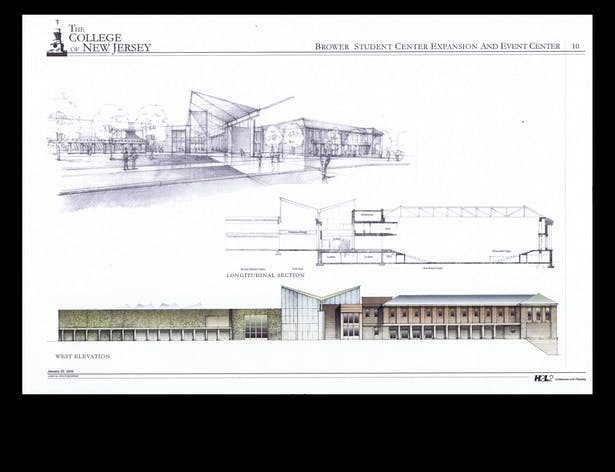 Perspective of Entry Area, Elevation and Section