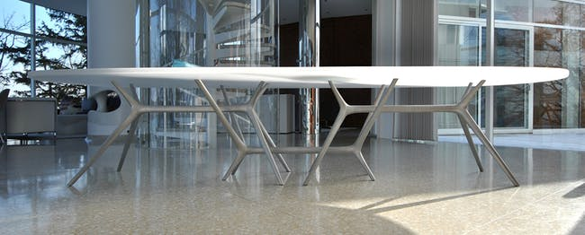 Dirk Denison Architects - Cast Aluminum Table. Photography: Dirk Denison Architects