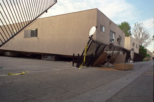 A dingbat-style apartment building that collapsed during the 1994 Northridge Earthquake. Photo: Gary B. Edstrom.