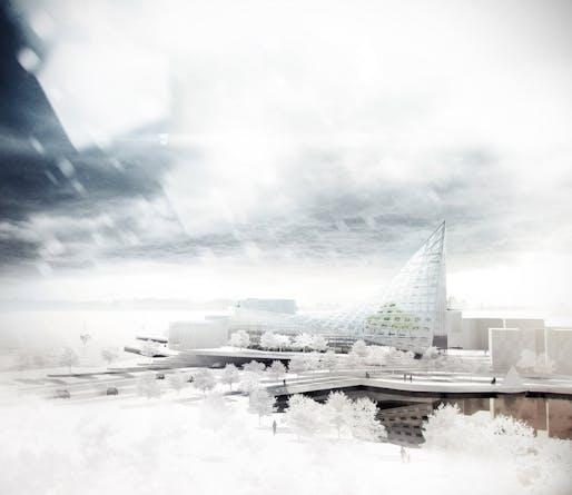 "Winner of the Finnish student design competition for a new landmark building in the Koivusaari area of Helsinki: ""Fokka"" by Arto Ollila (Image: Arto Ollila)"