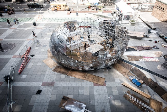 Orbit Pavilion at the May 2015 World Science Festival at New York University, designed by Jason Klimoski, StudioKCA, with sound composition by Shane Myrbeck and creative strategy by NASA JPL. Photo courtesy NASA/JPL-Caltech