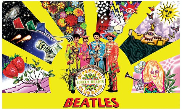This piece is a psychedelic poster design of the Beatles Sgt. Pepper album/persona/concept.