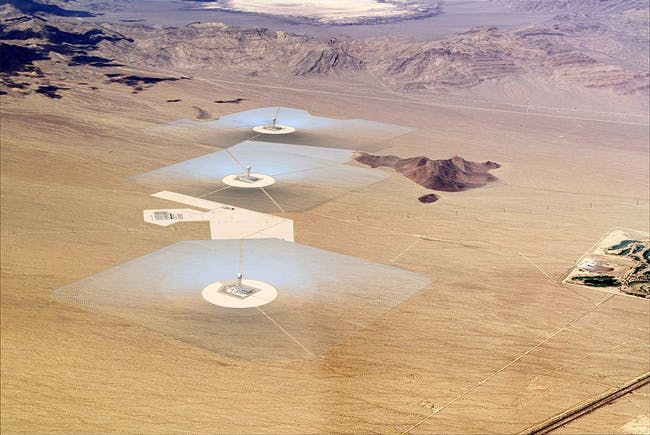 A model rendering of BrightSource Energy's Ivanpah Solar Power Complex (Image: BrightSource Energy)