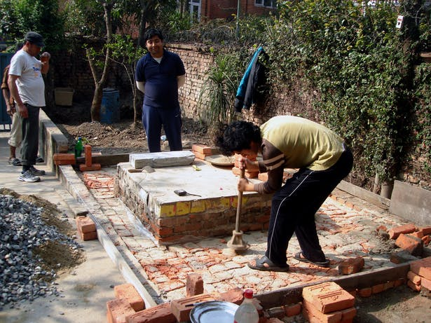 Preparing base for stone laying