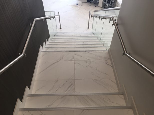 glass and metal railing Commercial Glass Railing Stainless Steel Elements Bella