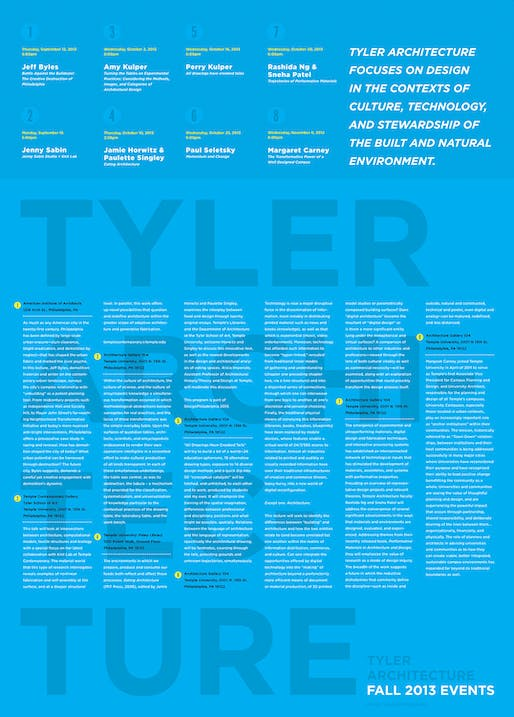Fall '13 public lecture program at Temple University, Tyler School of Art | Dept. of Architecture. Image courtesy of Temple University - Dept. of Architecture.