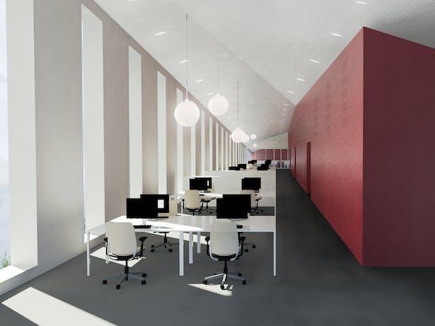 Interior view workspaces