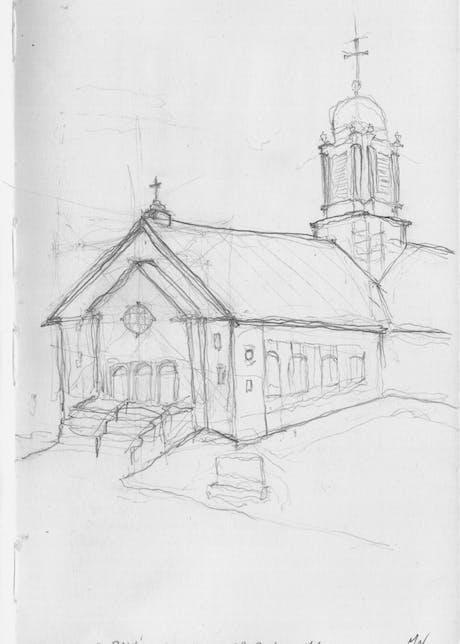 Sketch of St. Paul's Church in Scranton, PA
