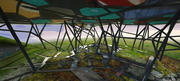 The public space accentuates the physical out of necessity through its undulating landscape - a form working with the interior to create the varied qualities of the practice rooms - and through the introduction of vegetation varying in hardness/softness, density, height, color, etc. Through the real time transmission of sound and video into the integrated public park space, the interior becomes a machine for spectacle on the outside without entering the Buardillardian virtual. Work, play...