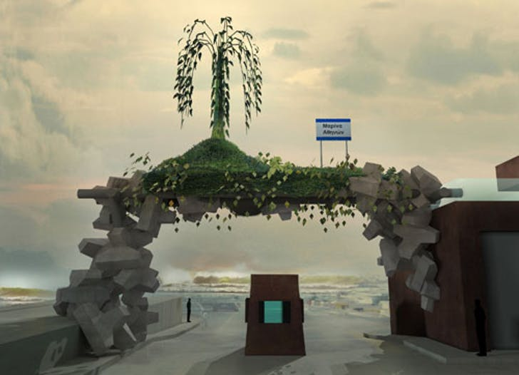 Angelidakis' 2010 project 'Monument to an Oncoming Disaster' imagines a monument designed around rising sea levels. On his blog, a description reads, 'Using the geometric rock modules that break waves are usually built with, we balance an artificial island up at the future horizon line.' (Both...