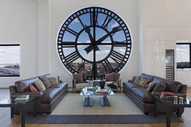 The Clock Tower - view of the living room overlooking Manhattan