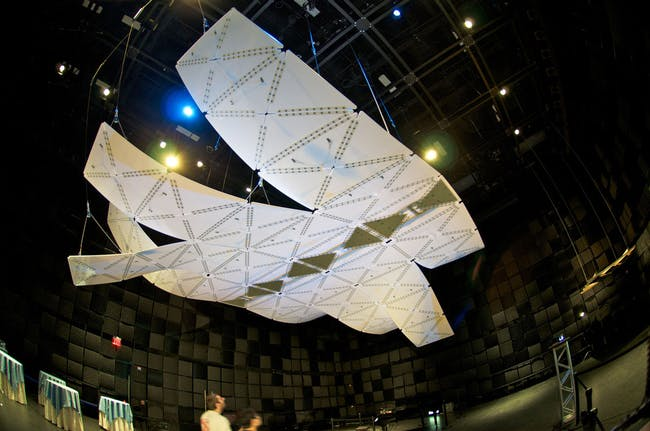 Acoustic installation 'Manta' at SmartGeometry 2012 conference (Photo: Michael Villardi)