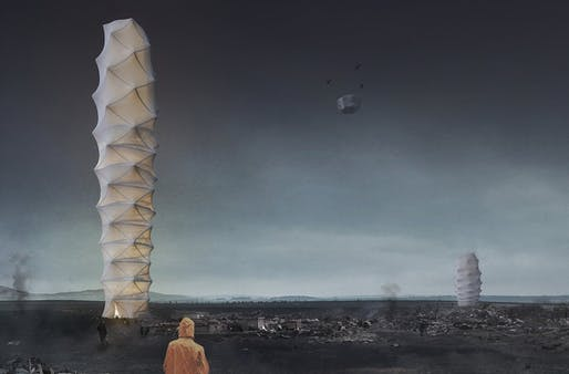 """2018 Skyscraper Competition 1st place winner: """"Skyshelter.zip: Foldable Skyscraper for Disaster Zones"""" by Damian Granosik, Jakub Kulisa, Piotr Pańczyk 