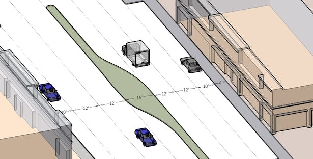 Street 3D model showing street dimensions for guidelines book