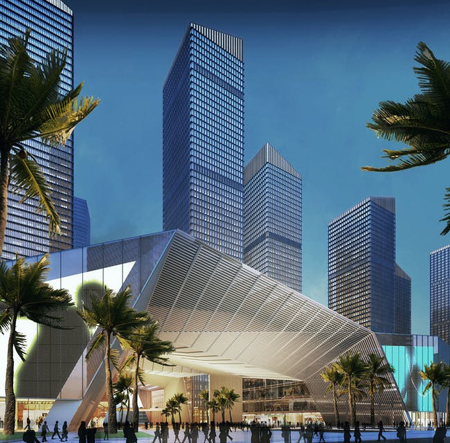 Pedestrian area in the new Shenzhen urban development by gmp. Image © gmp