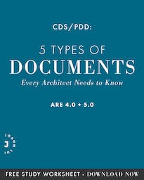 We're diving into every type of documents you'd need to know for the ARE 4.0 CDS/ARE 5.0 PDD exams. You can even download the CDS/PDD – Know Your Documents study guide at the end of the post before your exam!