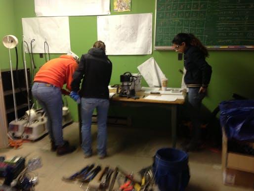 Fernanda, Jen, and Aysha take inventory
