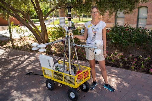 Ariane Middel with a MaRTy unit on the Tempe campus. Photo by Ken Fagan/ASU Now