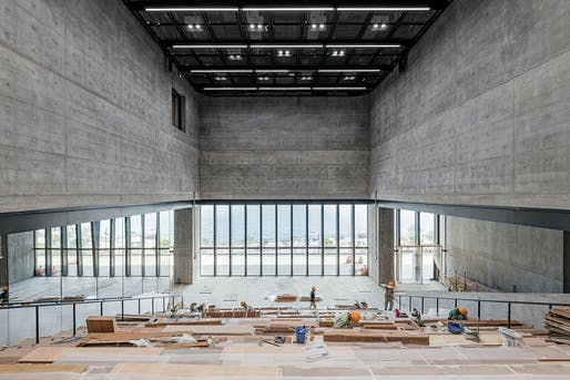 The Grand Stair inside the new M+ museum building. Photo: Kevin Mak © Kevin Mak Courtesy of Herzog & de Meuron