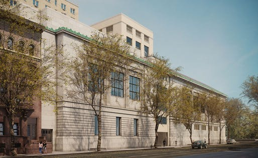 The New-York Historical Society expansion by Robert A.M. Stern Architects as viewed from 76th Street. Image courtesy of Alden Studios for Robert A.M. Stern Architects.