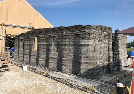 ​US Marine Corps Systems Command 3D printed concrete barracks​prototype. Image: MCSC.