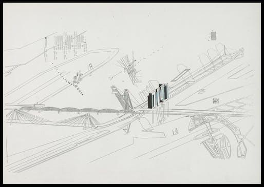 Stefano de Martino (*1955), Boompjes, colour study for triptych, 1982. Pencil and felt pen on Xerox, 297 × 420 mm.