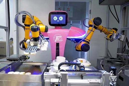 One of 46 robots in Country Garden's newly opened, fully automated restaurant, called Foodom. Image: Qianxi Robotic Catering Group