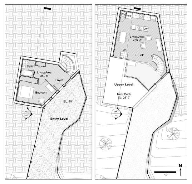 TERRAIN HOUSE 800 © Entrance & upper level plans - 800sf