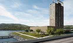 The world's tallest timber tower structurally tops out in Norway