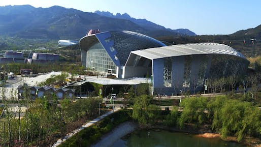 "In 2012, HKS won the architectural competition for the central conservatory building of the 2014 Qingdao International Horticultural Expo, but as the firm says, they were never compensated and the design was stolen and executed by a Chinese firm. Image via <a href=""https://www.cnn.com/travel/article/qingdao-horticultural-expo/index.html"">CNN Travel</a>"