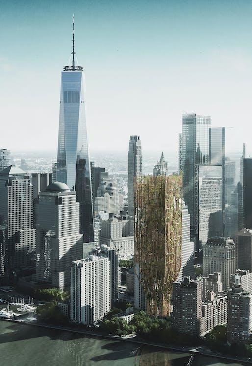 The proposal 'Living Skyscraper For New York City' by Andrii Lesiuk, Mykhaylo Kohut, Sofiia Shkoliar, Kateryna Ivashchuk, Nazarii Duda, Mariia Shkolnyk, Oksana-Daryna Kytsiuk, and Andrii Honcharenko from Ukraine is the top winner of the 2021 eVolo Skyscraper Competition.
