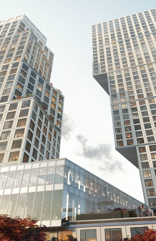 Looking up at OMA's Greenpoint Landing towers. Image courtesy of OMA/Nuur nu.