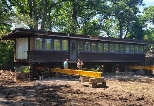 Ready to roll: the FLW-designed Booth Cottage in Glencoe, IL will be moved to a new location. Photo: Glencoe Historical Society/Instagram.