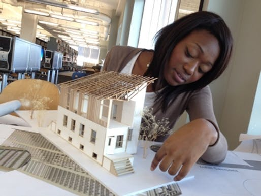 Levitta Lawrence, 21, of East Orange, majors in architecture at the New Jersey Institute of Technology and tied for first place with her modern home designed with an inverted truss. (Photo: Eunice Lee/The Star-Ledger)