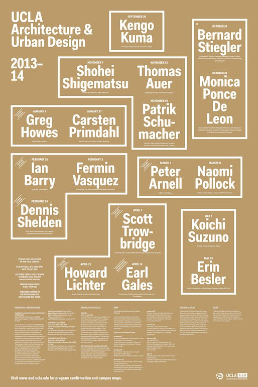 Poster of 2013-14 events at UCLA Architecture & Urban Design. Image courtesy of UCLA AUD.